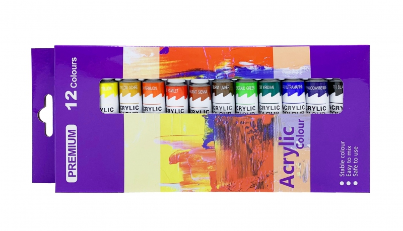 Malířské plátna-akrylové barvy - Akrylové barvy sada 12ks-12ml. PK54-1